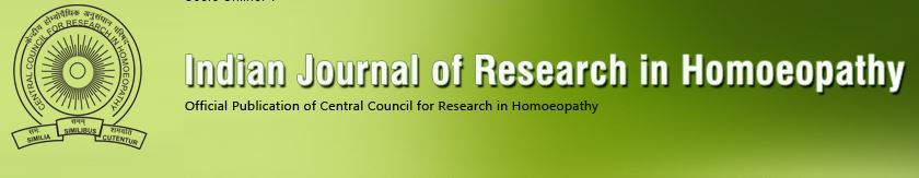 Indian Journal of Research in Homoeopathy – Publicación oficial del Central Council for research in Homoeopathy